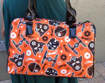 Handbag made with orange Star Wars Halloween Sugarskull fabric