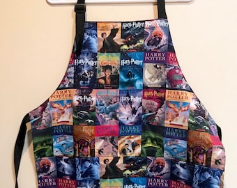 Apron made with wizarding books fabric