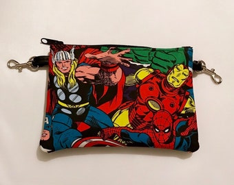 Small zippered bag made with Avengers fabric