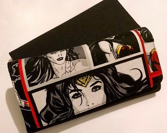 Wallet made with Wonder Woman fabric