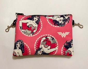Small zippered bag made with Wonder Woman fabric