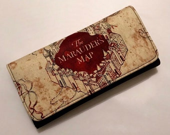 Wallet made with Marauder's Map fabric
