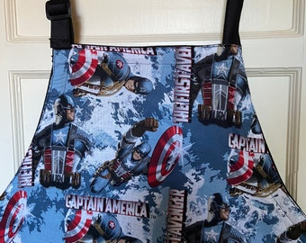 Reversible apron (6 pockets) made with Captain America fabric