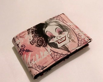 Bifold wallet made with pink evil queen fabric