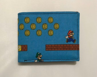 Bifold wallet made with Super Mario fabric
