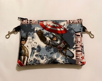 Small zippered bag made with Captain America fabric