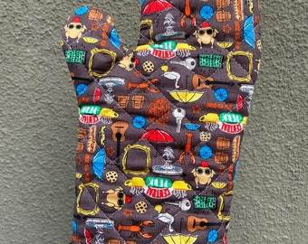 Oven Mitt made with Friends fabric