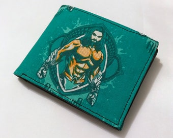 Bifold wallet made with Aquaman fabric