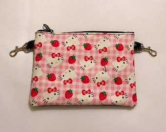 Small zippered bag made with Hello Kitty fabric