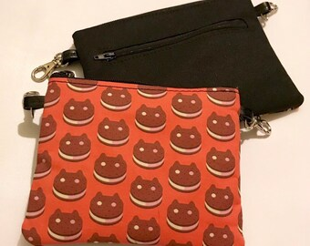 Small zippered bag made with ice cream cat sandwich fabric