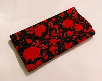 Blood spatter fabric wallet