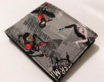 Bifold wallet made with Spider-Man fabric