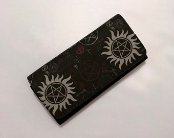 Wallet made with Supernatural symbols inspired fabric