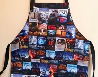 Apron made with horror books fabric