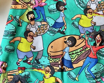 PREORDER - Face mask with filter pocket made with Burger cartoon-inspired fabric