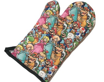 Oven Mitt made with packed Mario characters fabric