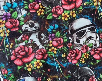 PREORDER - Cotton face mask with filter pocket made with floral Star Wars-inspired fabric