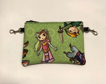 Small zippered bag made with Zelda Windwaker fabric