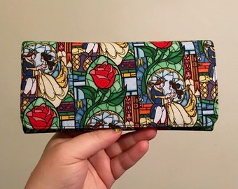 Wallet made with Beauty and the Beast fabric