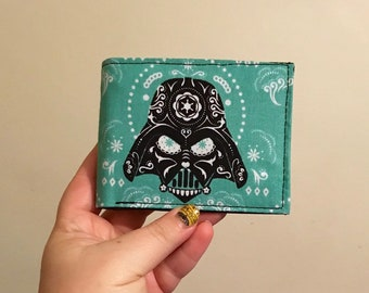 Bifold wallet made with Darth Vader sugarskull fabric