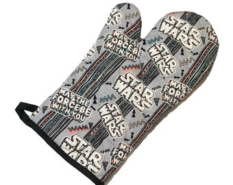 Oven Mitt made with 80's style Star Wars fabric