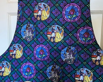 Reversible apron (6 pockets) made with Beauty & the Beast circle fabric