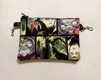 Small zippered bag made with Disney villains fabric