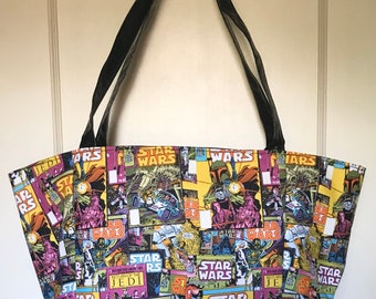 Large tote handbag made with Star Wars comic fabric
