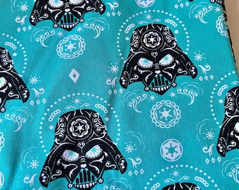 PREORDER - Cotton face mask with filter pocket made with Darth Vader Sugarskull fabric