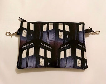 Small zippered bag made with Tardis fabric