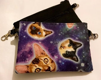 Space cat small zippered bag