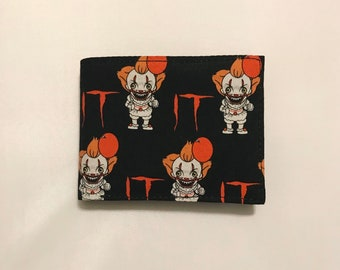 Bifold wallet made with Pennywise fabric