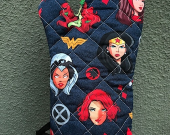 Oven mitt made with comic women-inspired fabric