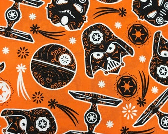 Apron made with orange Star Wars Halloween Sugarskull fabric