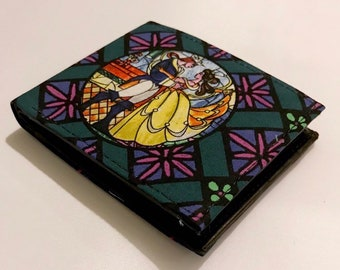Bifold wallet made with Beauty & the Beast fabric