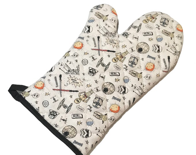 Featured listing image: Oven Mitt made with white Star Wars fabric