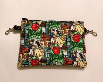 Small zippered bag made with Beauty and the Beast fabric