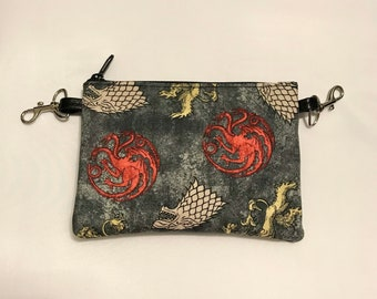 Small zippered bag made with Game of Thrones sigils fabric