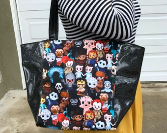 Large handbag made with horror cuties fabric