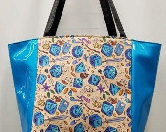 Large handbag made with dice RPG fabric