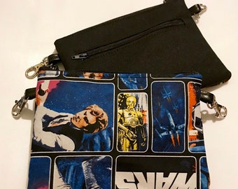Small zippered bag made with classic Star Wars fabric