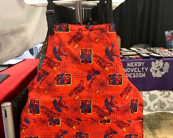 Apron made with red Spiderman fabric