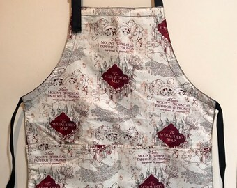 Reversible apron (6 pockets) made with marauder's map fabric
