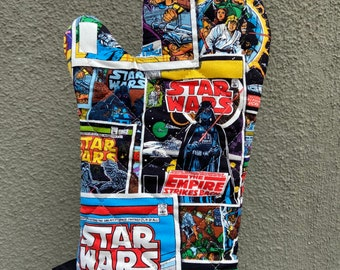 Oven mitt made with Star Wars comic covers fabric