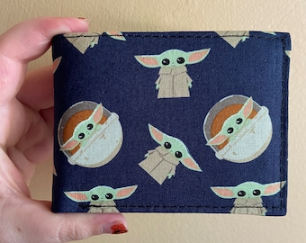 Bifold wallet made with Baby Yoda fabric