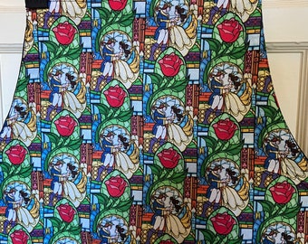 Reversible apron (6 pockets) made with Beauty & the Beast fabric