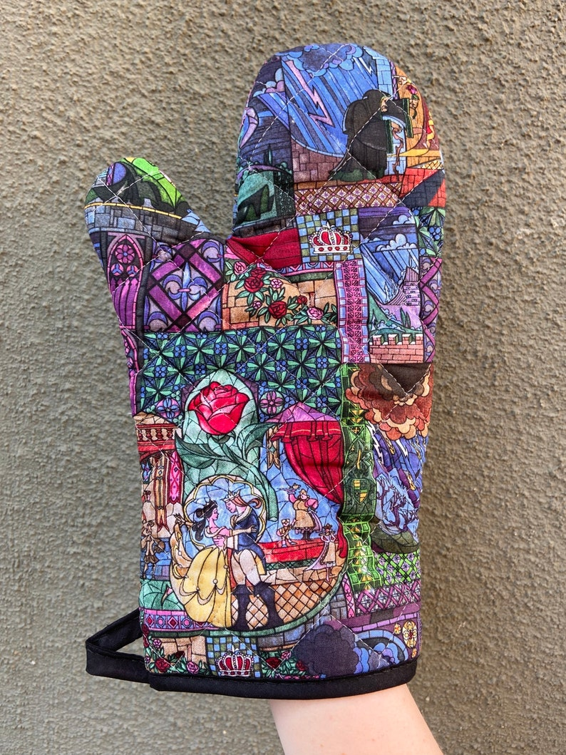 one mitt kitchen decor Oven mitt made with Beauty and the Beast Stained Glass fabric
