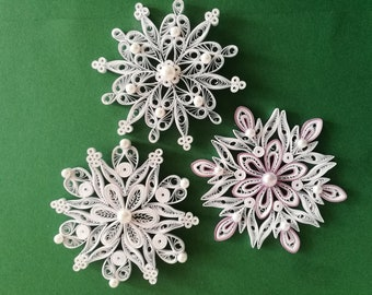 Set of 3 quilled snowflakes, Christmas tree ornament, Paper snowflakes