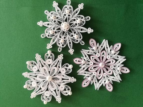 Fiocchi Di Neve Di Carta Tutorial : Set di fiocchi di neve quilled ornamento dell albero di etsy