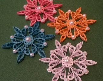 Set of 4 Snowflakes, Quilling snowflakes, Christmas tree ornaments, Paper snowflakes